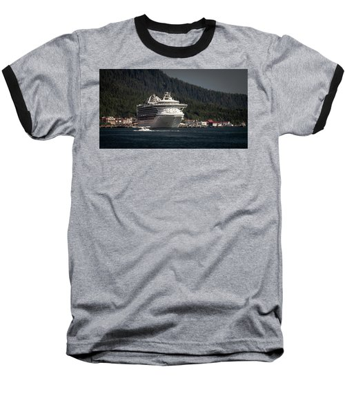 The Cruise Ship And The Plane Baseball T-Shirt by Timothy Latta
