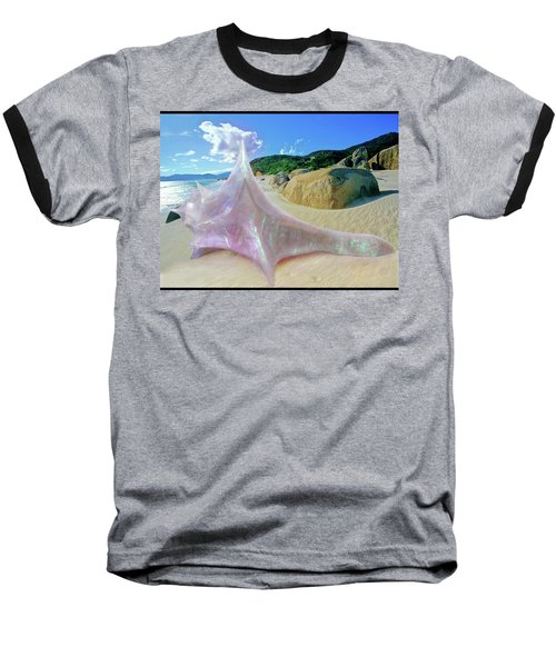 Baseball T-Shirt featuring the sculpture The Crystalline Rainbow Shell Sculpture by Shawn Dall