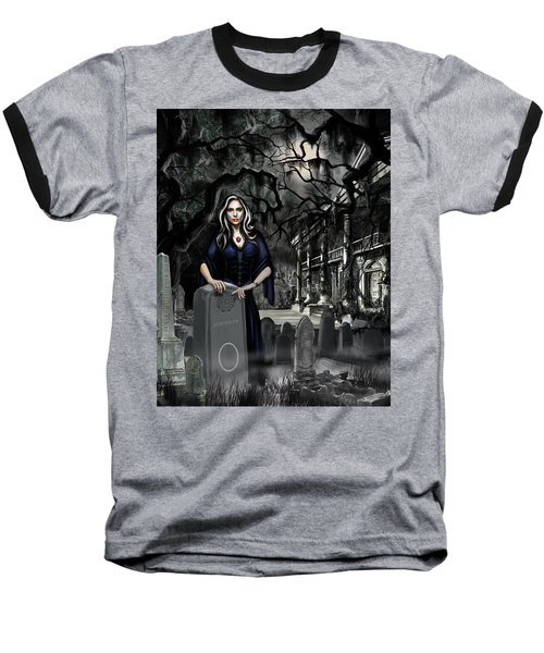 Baseball T-Shirt featuring the painting The Curse Of Johnson Bayou by James Christopher Hill
