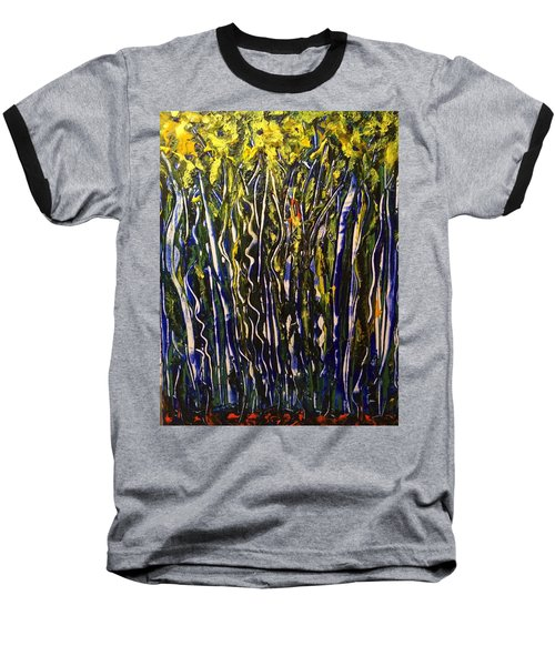 Baseball T-Shirt featuring the painting The Dancing Garden by Kicking Bear Productions