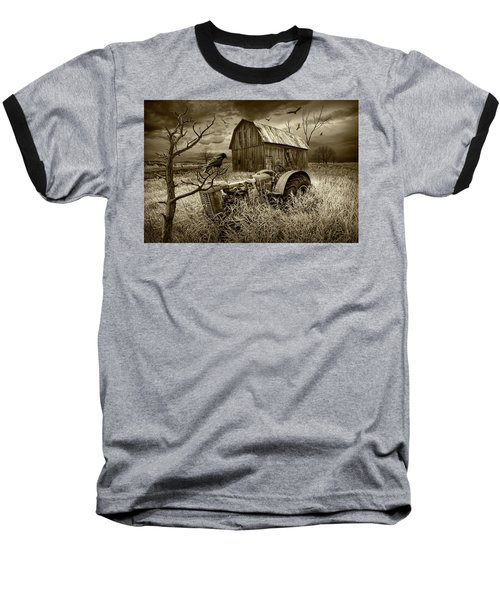Baseball T-Shirt featuring the photograph The Decline And Death Of The Small Farm In Sepia Tone by Randall Nyhof