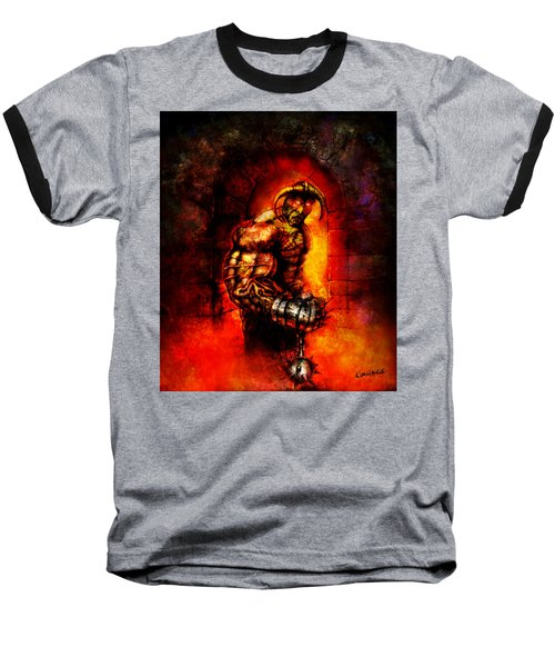 Baseball T-Shirt featuring the digital art The Devil's Henchman by Kim Gauge