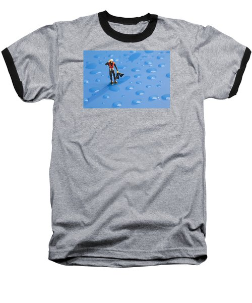 Baseball T-Shirt featuring the photograph The Diver Among Water Drops Little People Big World by Paul Ge