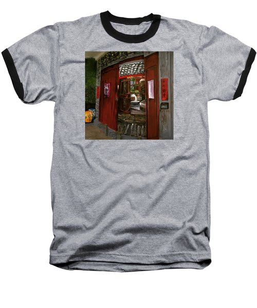 Baseball T-Shirt featuring the painting The Red Door by Belinda Low