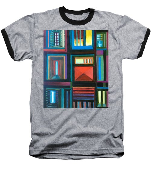 Baseball T-Shirt featuring the painting The Doors Of Hope  by Laila Awad Jamaleldin