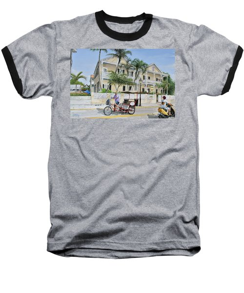 Baseball T-Shirt featuring the painting The Duval House, Key West, Florida by Bob George