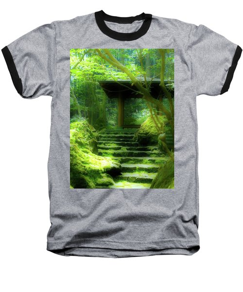 The Emerald Stairs Baseball T-Shirt by Tim Ernst
