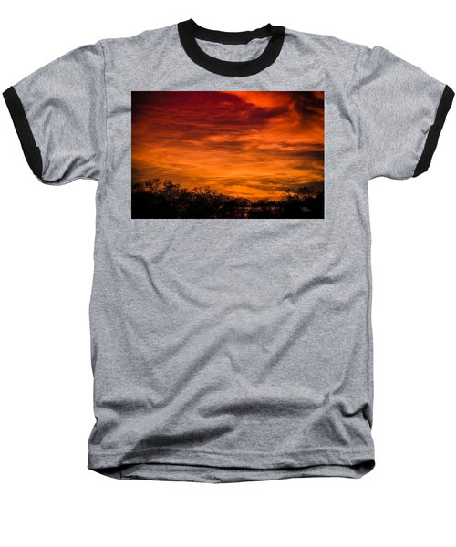 The Evening Sky Of Fire Baseball T-Shirt by David Collins