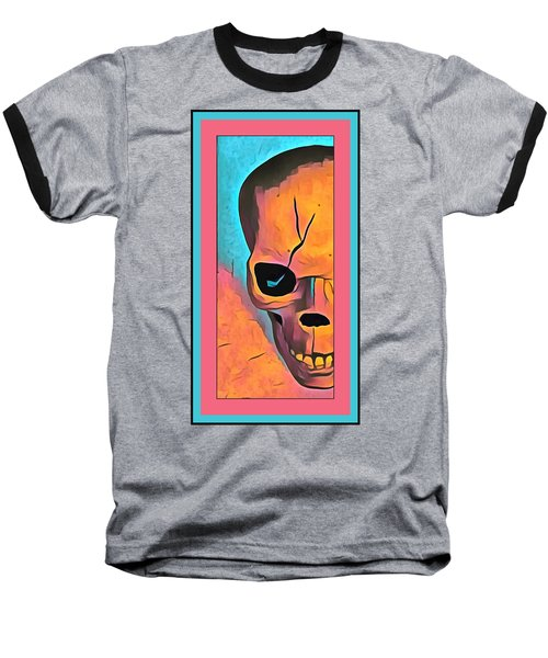 Baseball T-Shirt featuring the digital art The Eye Of Death Abstract Skull by Floyd Snyder
