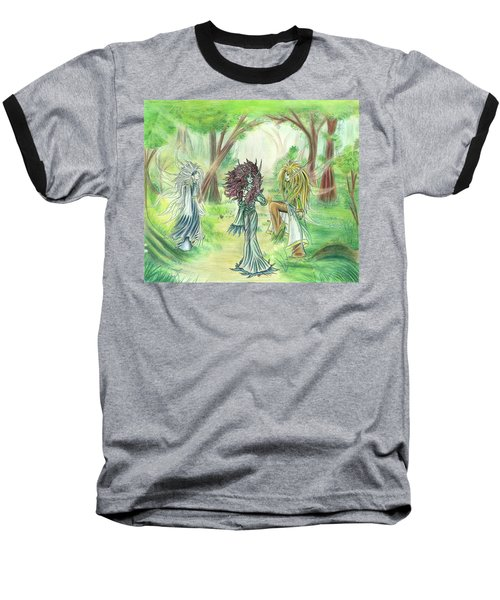 Baseball T-Shirt featuring the painting The Fae - Sylvan Creatures Of The Forest by Shawn Dall