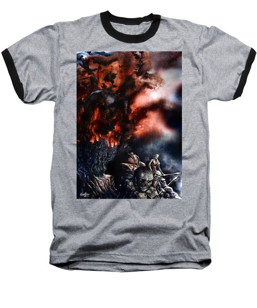 Baseball T-Shirt featuring the painting The Fall Of Azturath by Curtiss Shaffer