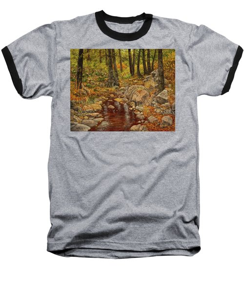 The Fall Stream Baseball T-Shirt by Roena King