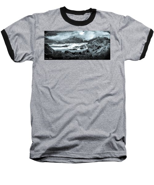 Baseball T-Shirt featuring the photograph The Falls In Black And White by Andrew Matwijec