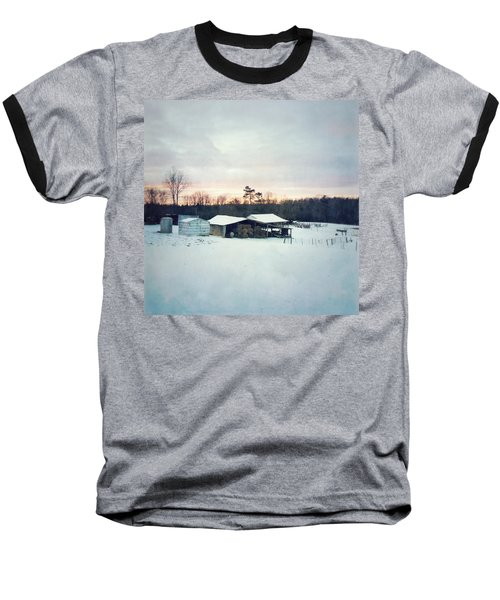 The Farm In Snow At Sunset Baseball T-Shirt