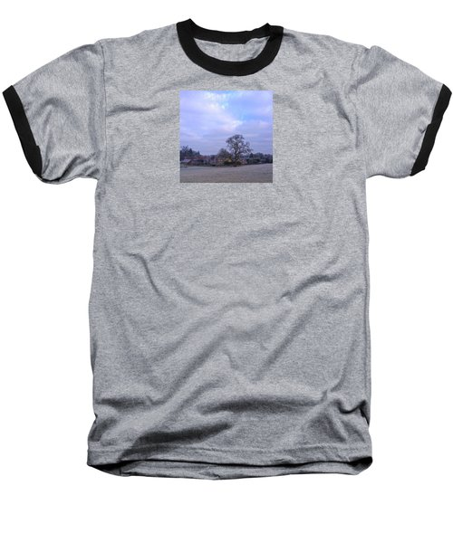 The Farm In Winter Baseball T-Shirt by Anne Kotan