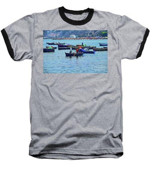 Baseball T-Shirt featuring the photograph The Fishermen - Miraflores, Peru by Mary Machare