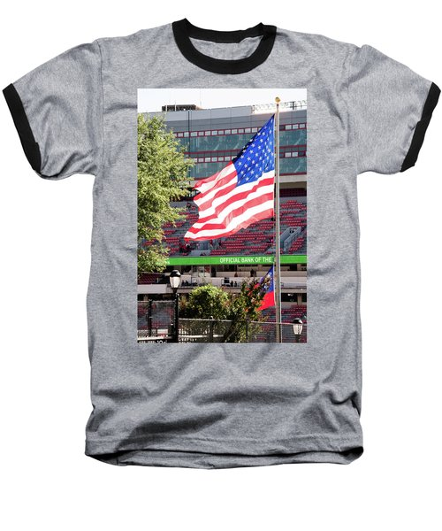 Baseball T-Shirt featuring the photograph The Flag Flying High Over Sanford Stadium by Parker Cunningham