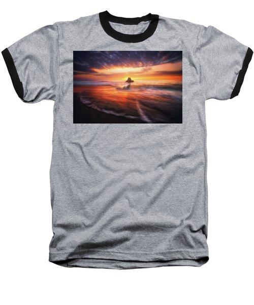 The Flaming Rock Baseball T-Shirt