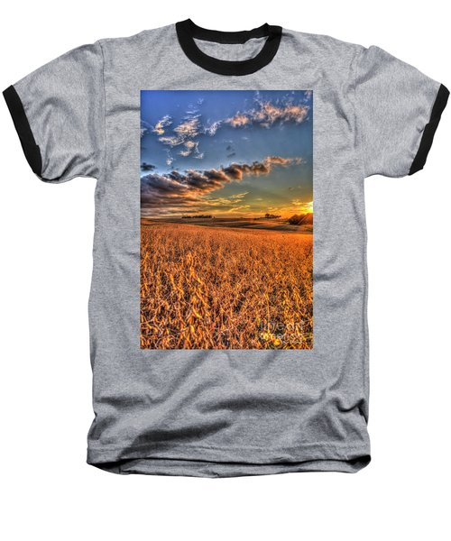 The Fleeting Sunset Missouri Soybean Farming Art  Baseball T-Shirt