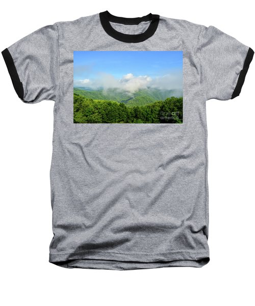 Baseball T-Shirt featuring the photograph The Fog Rises Over The Bluestone Gorge - Pipestem State Park by Kerri Farley
