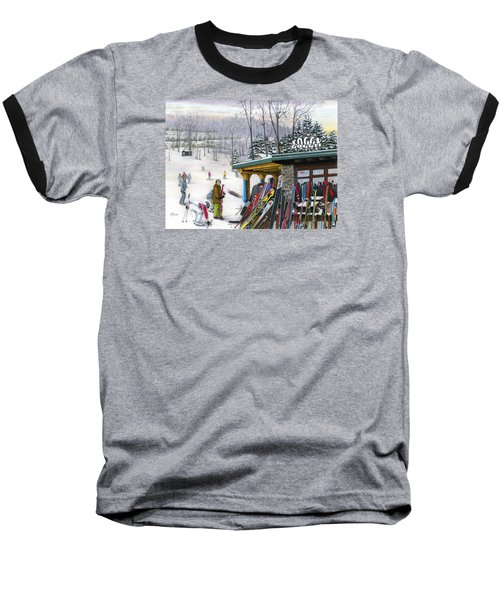 Baseball T-Shirt featuring the painting The Foggy Goggle At Seven Springs by Albert Puskaric