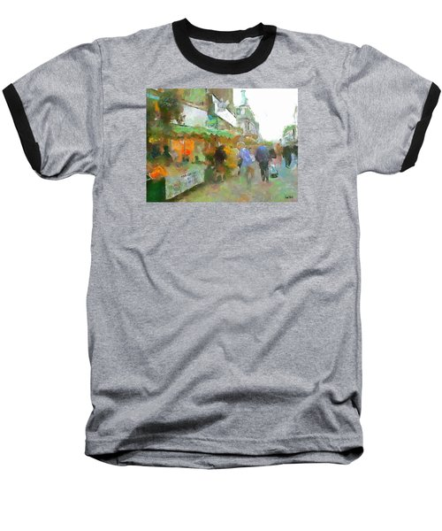 Baseball T-Shirt featuring the painting The Food Fair by Wayne Pascall