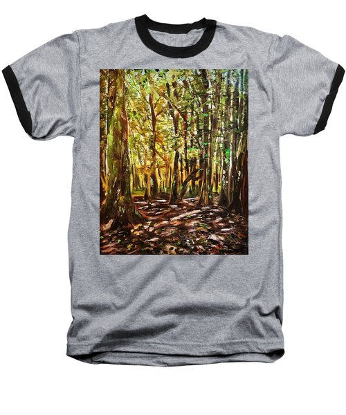 La Foret Du Mount Beuvray Baseball T-Shirt by Belinda Low