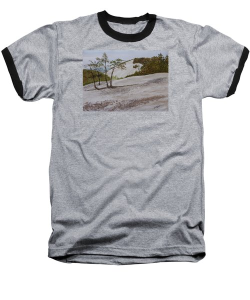 Baseball T-Shirt featuring the painting The Four Sisters At Stone Mountain by Joel Deutsch