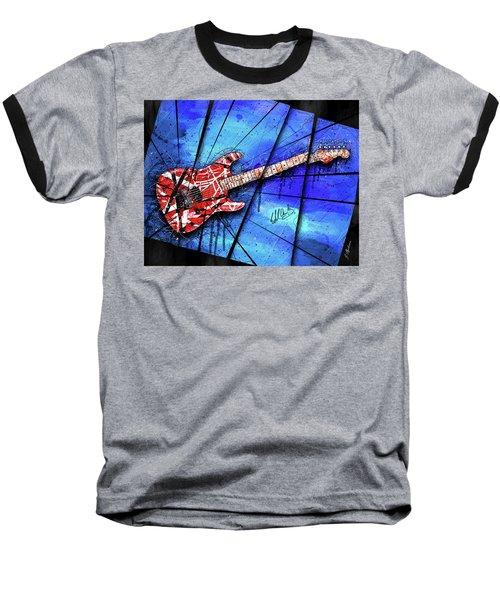 The Frankenstrat On Blue I Baseball T-Shirt by Gary Bodnar