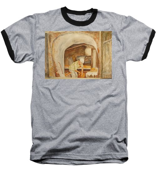 Baseball T-Shirt featuring the painting The French Baker by Vicki  Housel