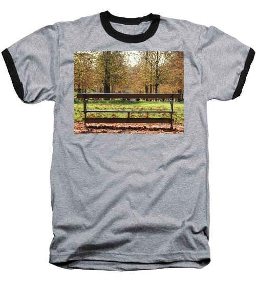 Baseball T-Shirt featuring the photograph The French Bench And The Autumn by Yoel Koskas