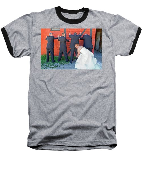 The Frisky Bride Baseball T-Shirt by Keith Armstrong