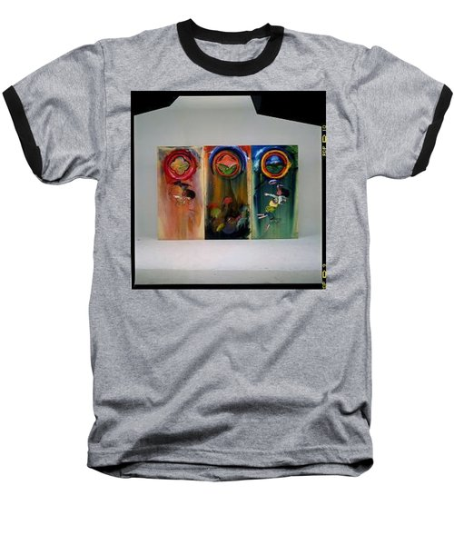 Baseball T-Shirt featuring the painting The Fruit Machine Stops by Charles Stuart