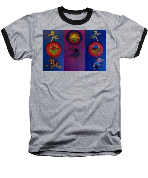 Baseball T-Shirt featuring the painting The Fruit Machine Stops II by Charles Stuart