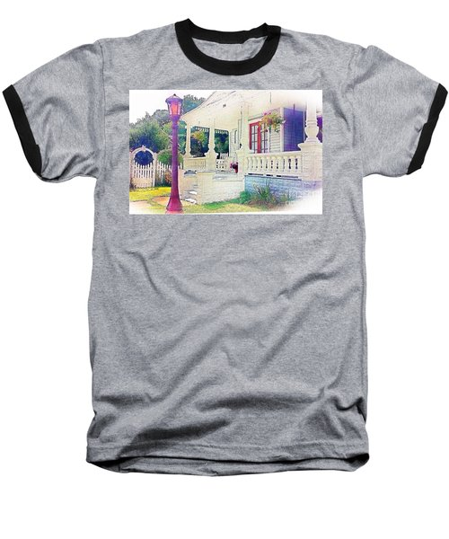 The Gate Porch And The Lamp Post Baseball T-Shirt by Becky Lupe