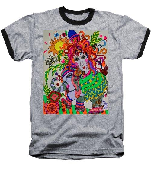 The Girl And The Elephant Baseball T-Shirt