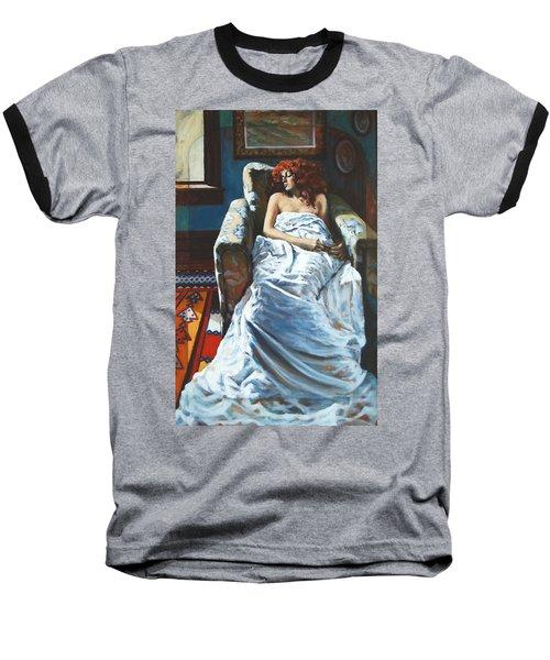 The Girl In The Chair Baseball T-Shirt by Rick Nederlof