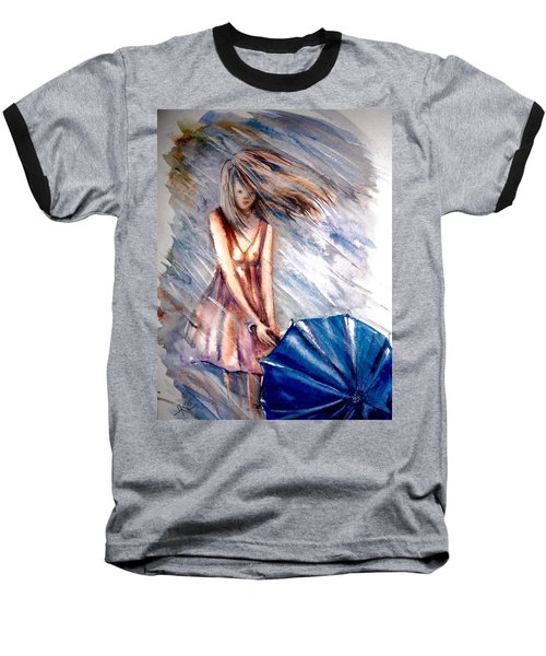 The Girl With A Blue Umbrella Baseball T-Shirt