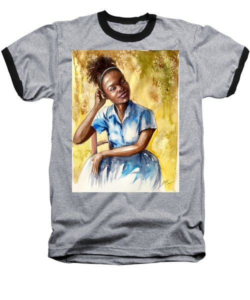 The Girl With The Blue Dress Baseball T-Shirt