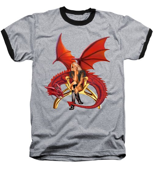 The Girl With The Red Dragon Baseball T-Shirt by Glenn Holbrook