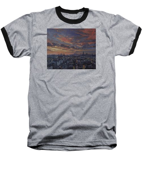 Baseball T-Shirt featuring the painting The Golden Hour Maastricht by Nop Briex