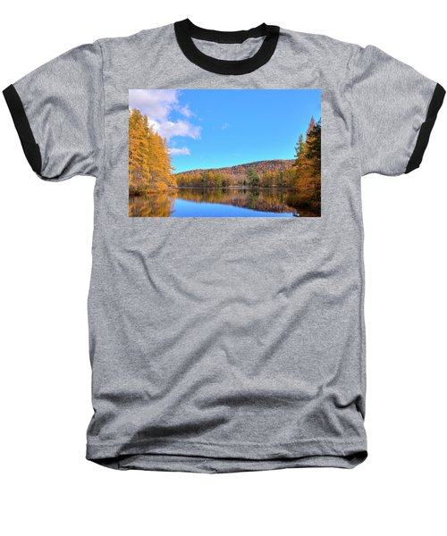 Baseball T-Shirt featuring the photograph The Golden Tamaracks Of Woodcraft Camp by David Patterson
