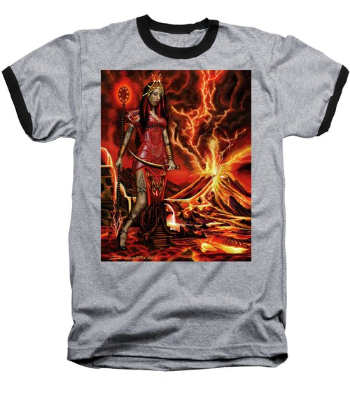 Baseball T-Shirt featuring the painting The Goodess Pele Of Hawaii by James Christopher Hill