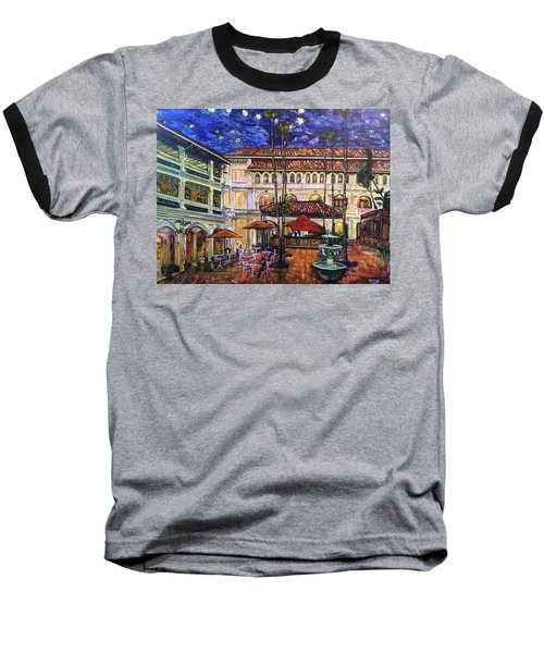 The Grand Dame's Courtyard Cafe  Baseball T-Shirt by Belinda Low