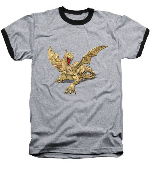 The Great Dragon Spirits - Golden Guardian Dragon On Red And Black Canvas Baseball T-Shirt by Serge Averbukh