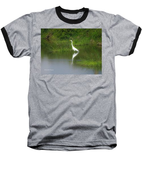 Great Egret By The Waters Edge Baseball T-Shirt