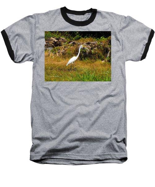 Egret Against Driftwood Baseball T-Shirt