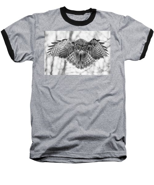 Baseball T-Shirt featuring the photograph The Great Grey Owl In Black And White by Mircea Costina Photography