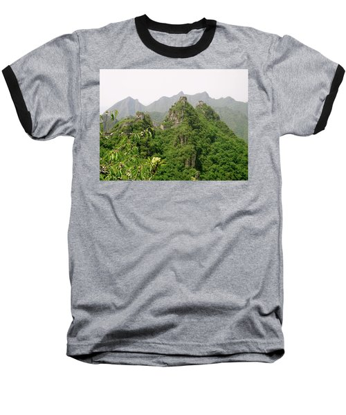 The Great Wall Of China Winding Over Mountains Baseball T-Shirt
