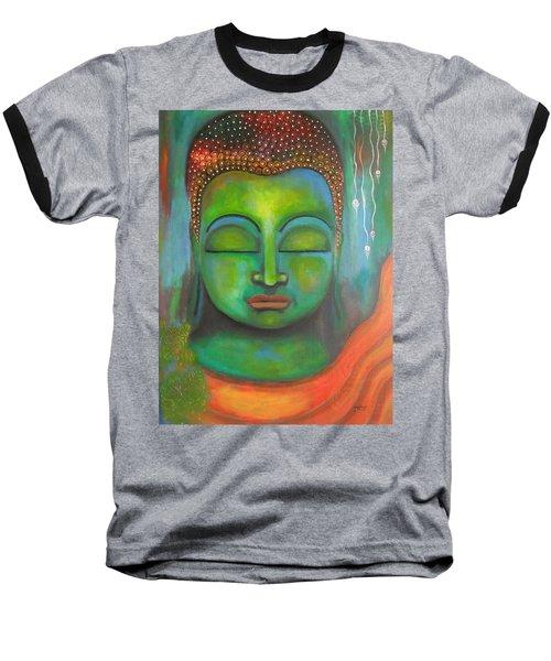Baseball T-Shirt featuring the painting The Green Buddha by Prerna Poojara